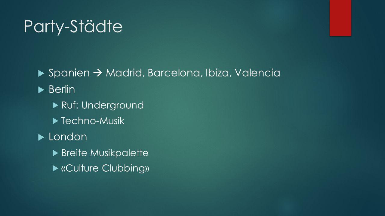 Party-Städte Spanien  Madrid, Barcelona, Ibiza, Valencia Berlin