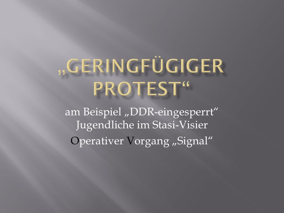 """Geringfügiger Protest"