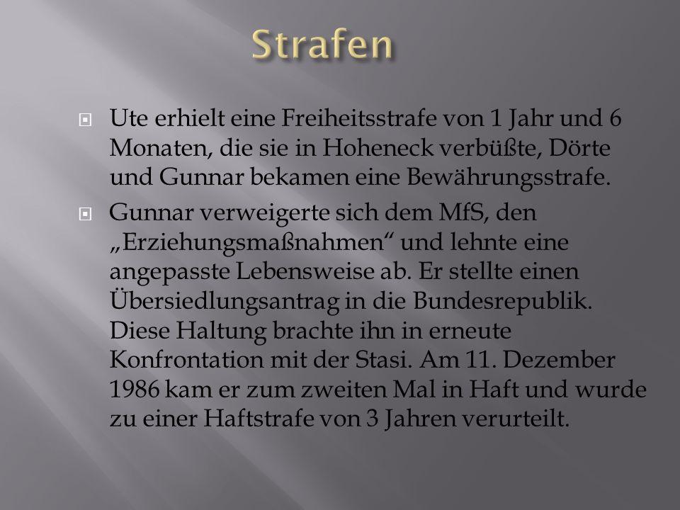 Strafen Ute erhielt eine Freiheitsstrafe von 1 Jahr und 6 Monaten, die sie in Hoheneck verbüßte, Dörte und Gunnar bekamen eine Bewährungsstrafe.