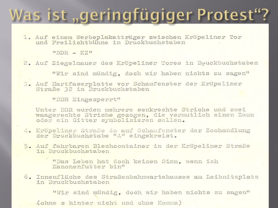 "Was ist ""geringfügiger Protest"