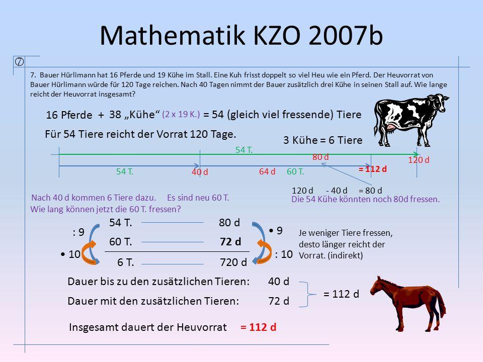 """Mathematik KZO 2007b  16 Pferde + 38 """"Kühe"""