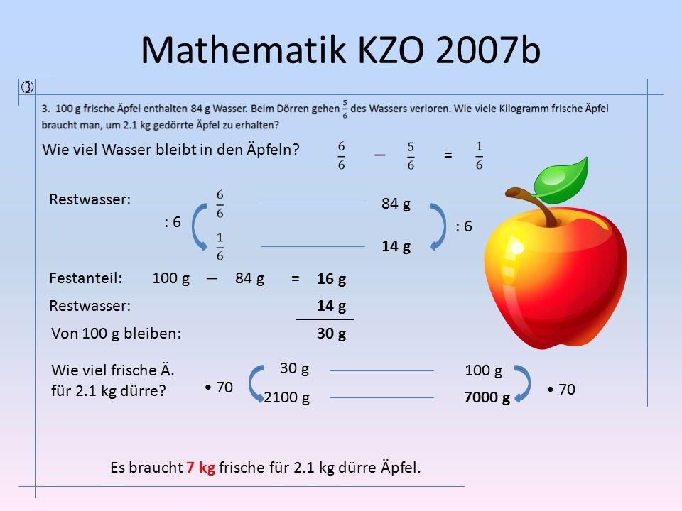 Mathematik KZO 2007b  Wie viel Wasser bleibt in den Äpfeln =