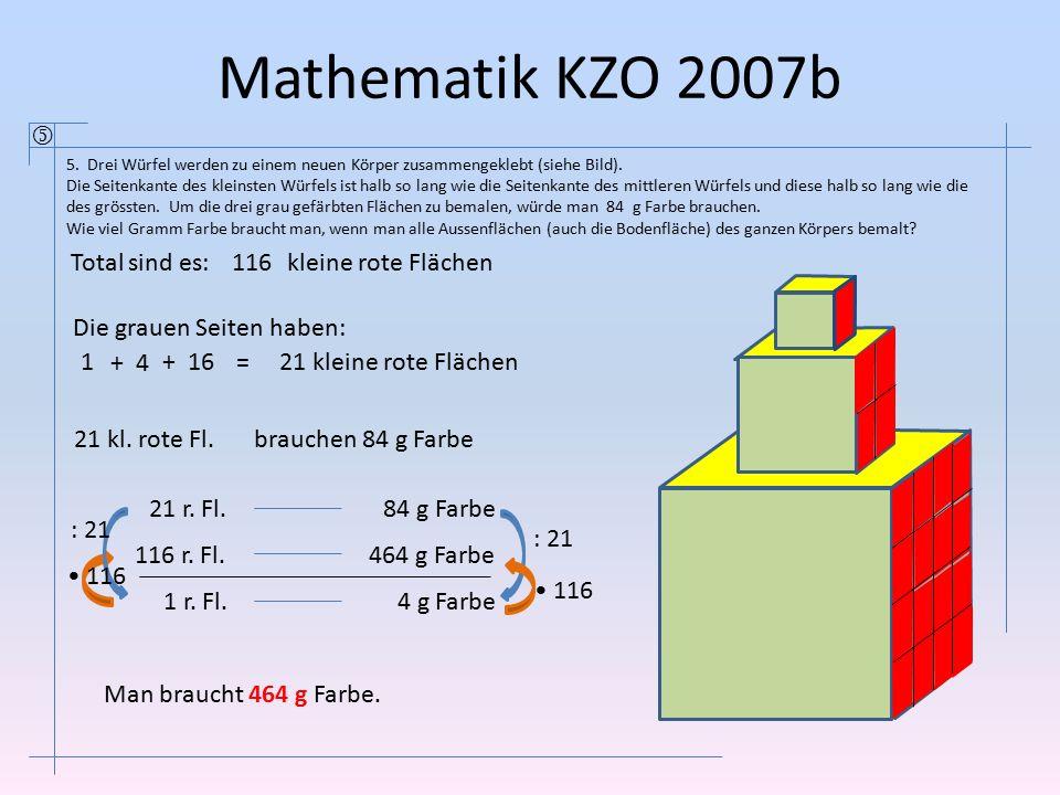 Mathematik KZO 2007b  Total sind es: 116 kleine rote Flächen