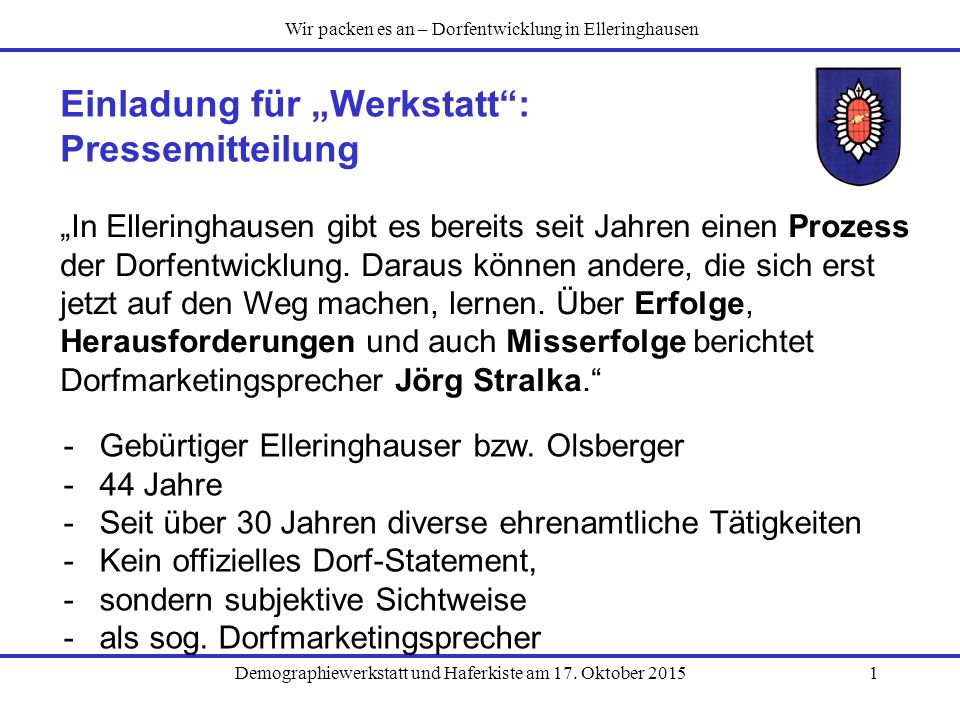 """Einladung für """"Werkstatt : Pressemitteilung"""