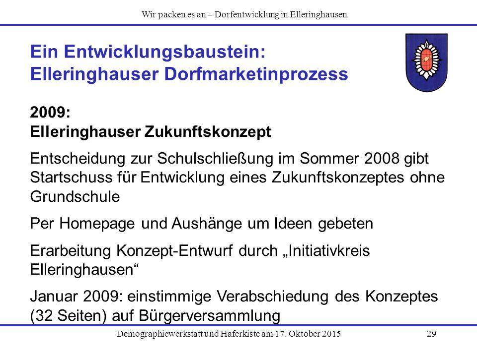 Ein Entwicklungsbaustein: Elleringhauser Dorfmarketinprozess