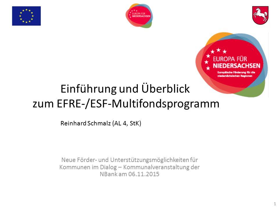 Einführung und Überblick zum EFRE-/ESF-Multifondsprogramm