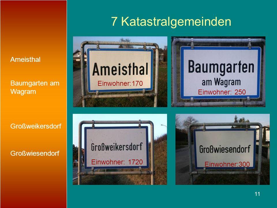 7 Katastralgemeinden Ameisthal Baumgarten am Wagram Einwohner:170