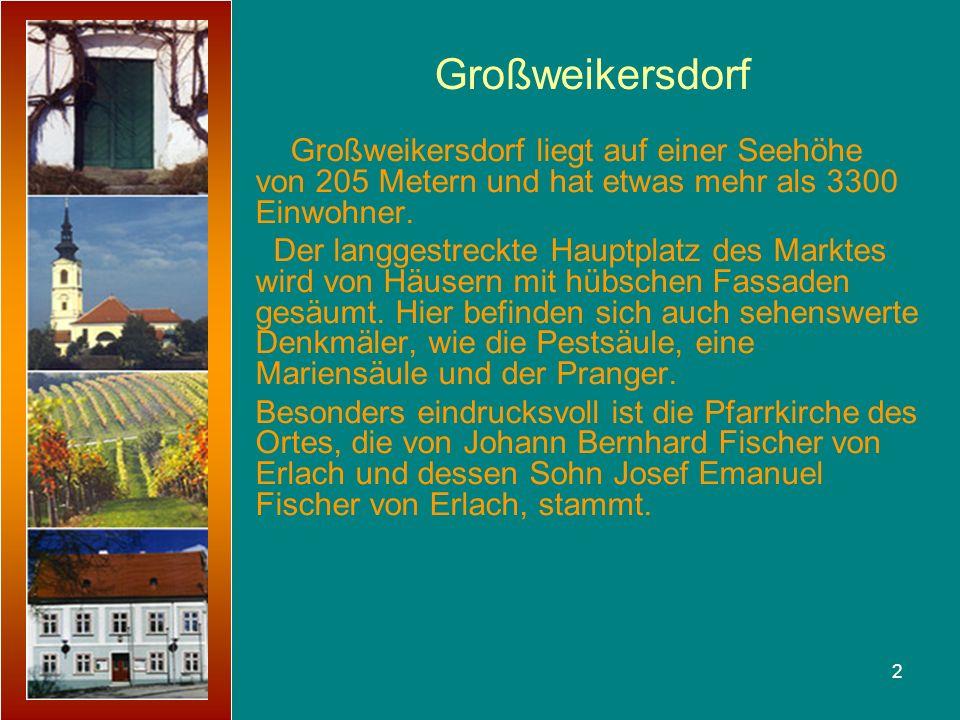 Großweikersdorf Großweikersdorf liegt auf einer Seehöhe von 205 Metern und hat etwas mehr als 3300 Einwohner.