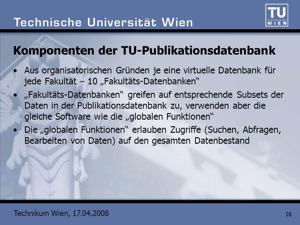 Komponenten der TU-Publikationsdatenbank