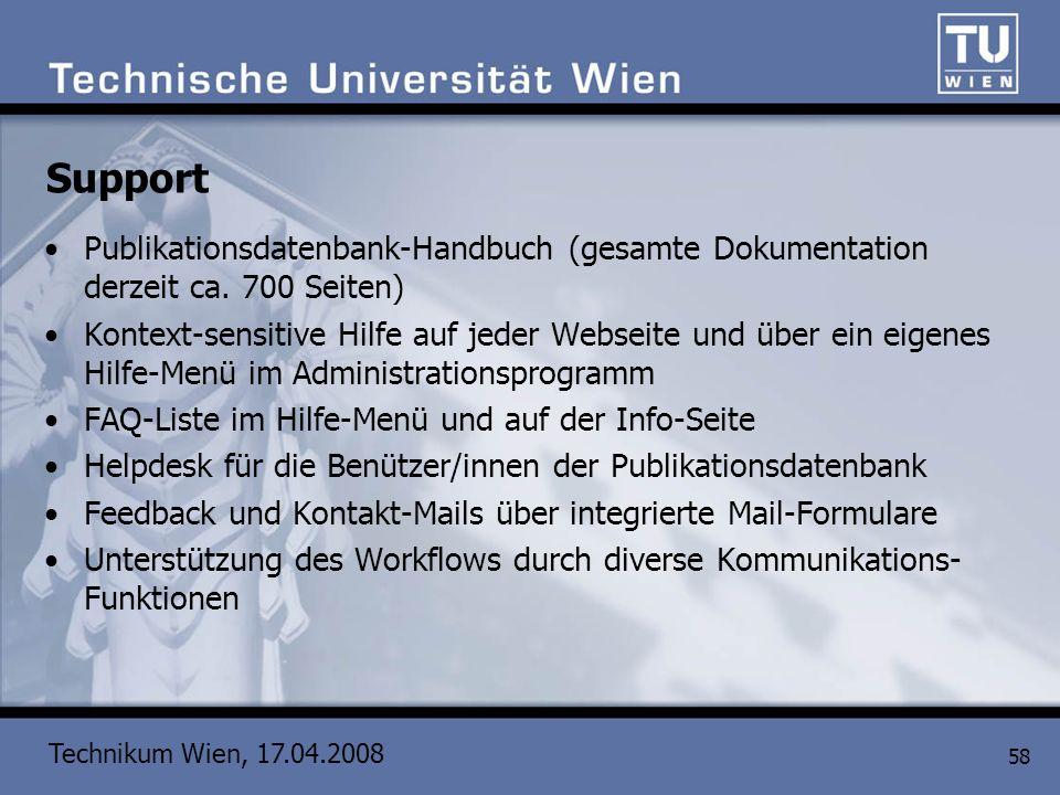 Support Publikationsdatenbank-Handbuch (gesamte Dokumentation derzeit ca. 700 Seiten)