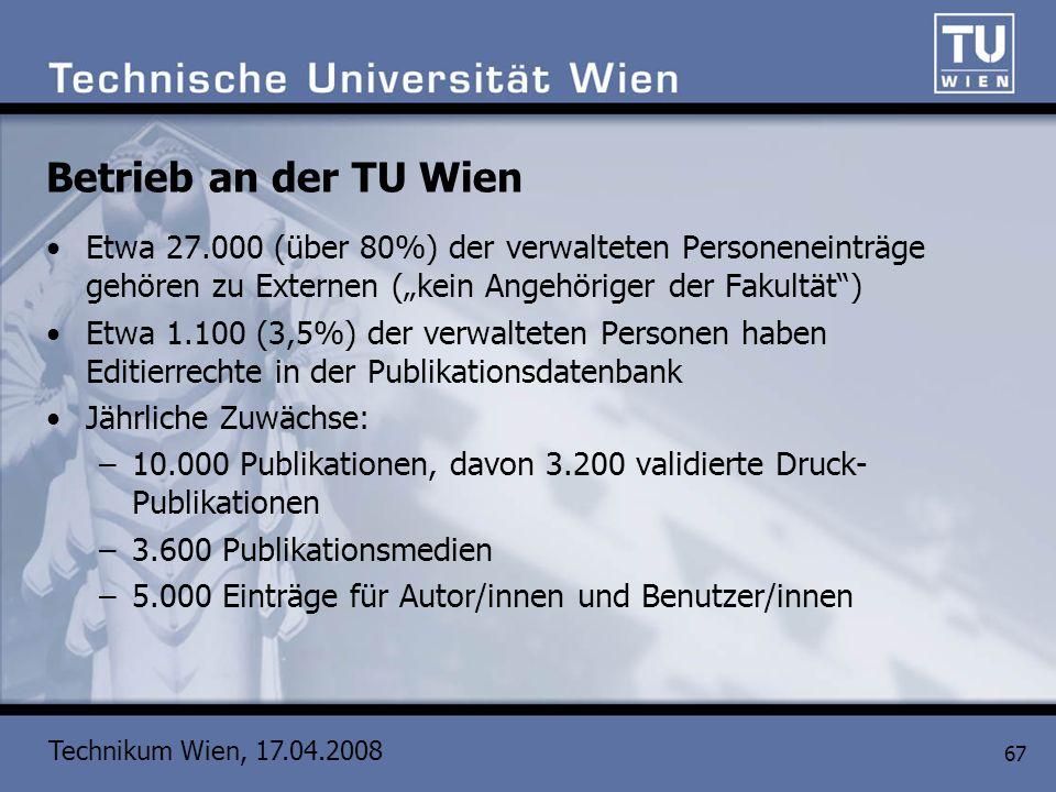 """Betrieb an der TU Wien Etwa 27.000 (über 80%) der verwalteten Personeneinträge gehören zu Externen (""""kein Angehöriger der Fakultät )"""