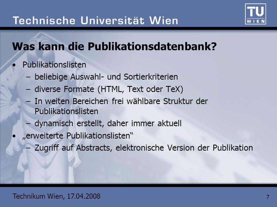 Was kann die Publikationsdatenbank