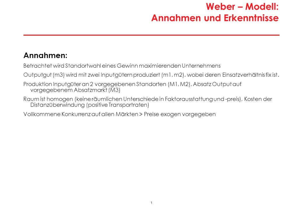 Standortwahl im Modell von Weber: Analyserahmen
