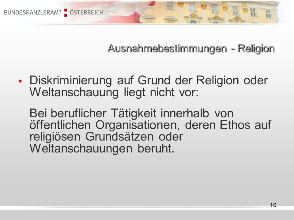 Ausnahmebestimmungen - Religion