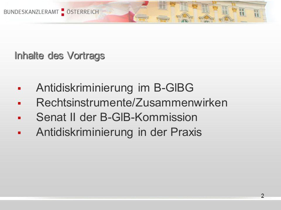 Antidiskriminierung im B-GlBG Rechtsinstrumente/Zusammenwirken
