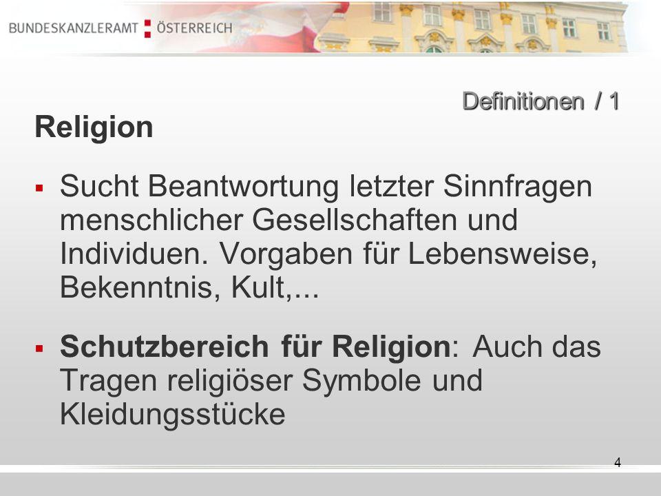 Definitionen / 1 Religion.