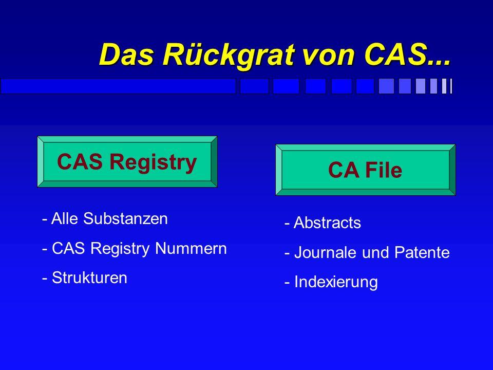 Das Rückgrat von CAS... CAS Registry CA File - Alle Substanzen