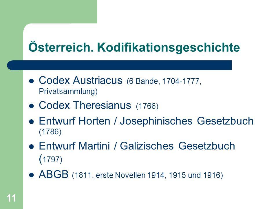 Österreich. Kodifikationsgeschichte