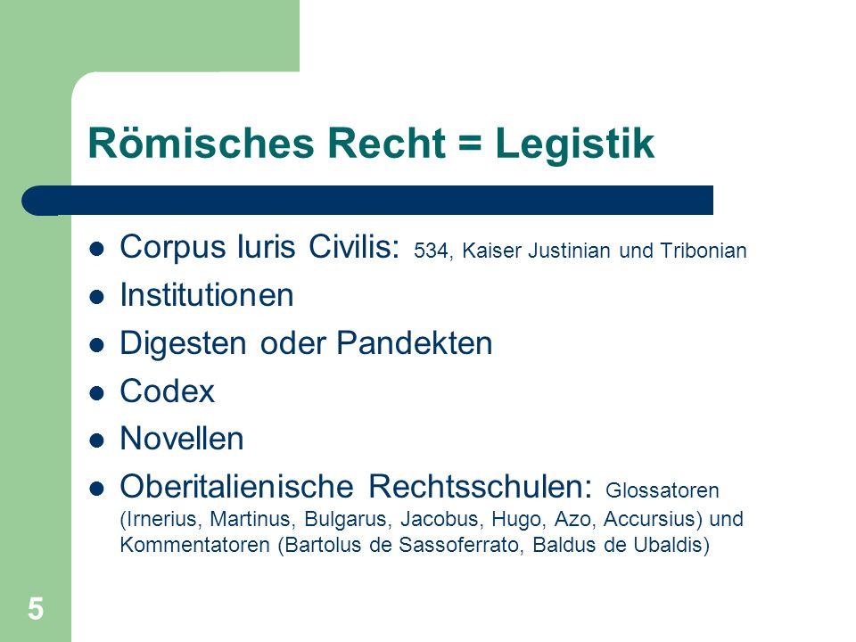 Römisches Recht = Legistik