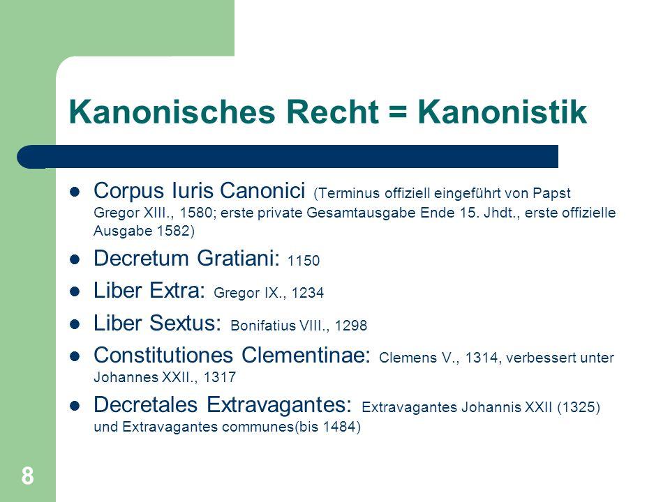 Kanonisches Recht = Kanonistik