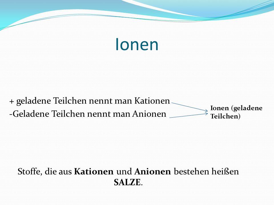 Stoffe, die aus Kationen und Anionen bestehen heißen SALZE.