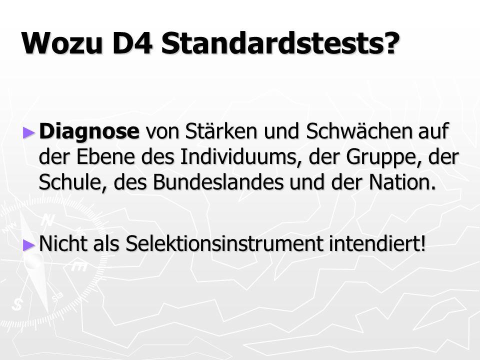 Wozu D4 Standardstests Diagnose von Stärken und Schwächen auf der Ebene des Individuums, der Gruppe, der Schule, des Bundeslandes und der Nation.