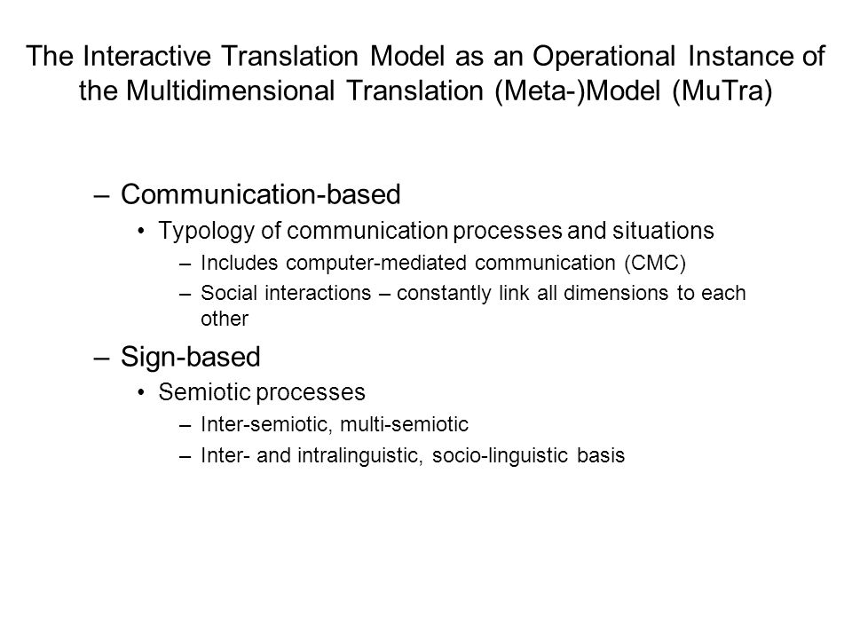 The Interactive Translation Model as an Operational Instance of the Multidimensional Translation (Meta-)Model (MuTra)