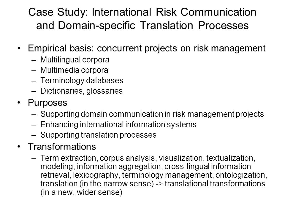 Case Study: International Risk Communication and Domain-specific Translation Processes