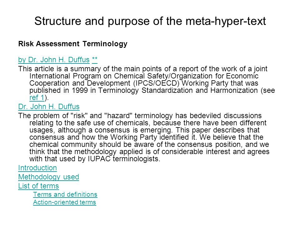 Structure and purpose of the meta-hyper-text