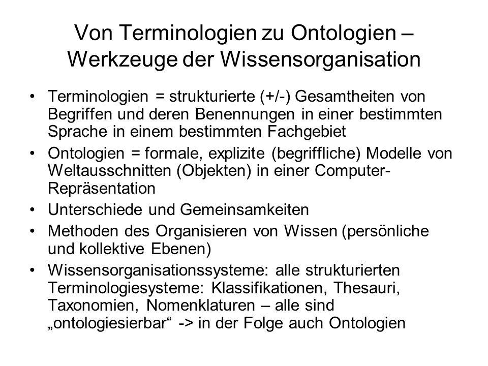Von Terminologien zu Ontologien – Werkzeuge der Wissensorganisation