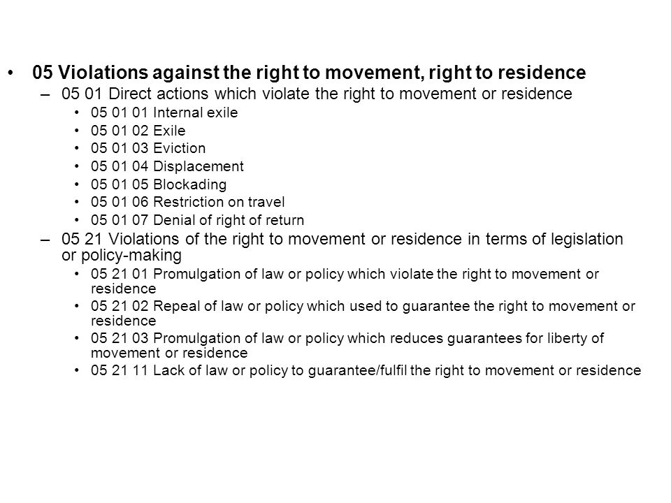 05 Violations against the right to movement, right to residence