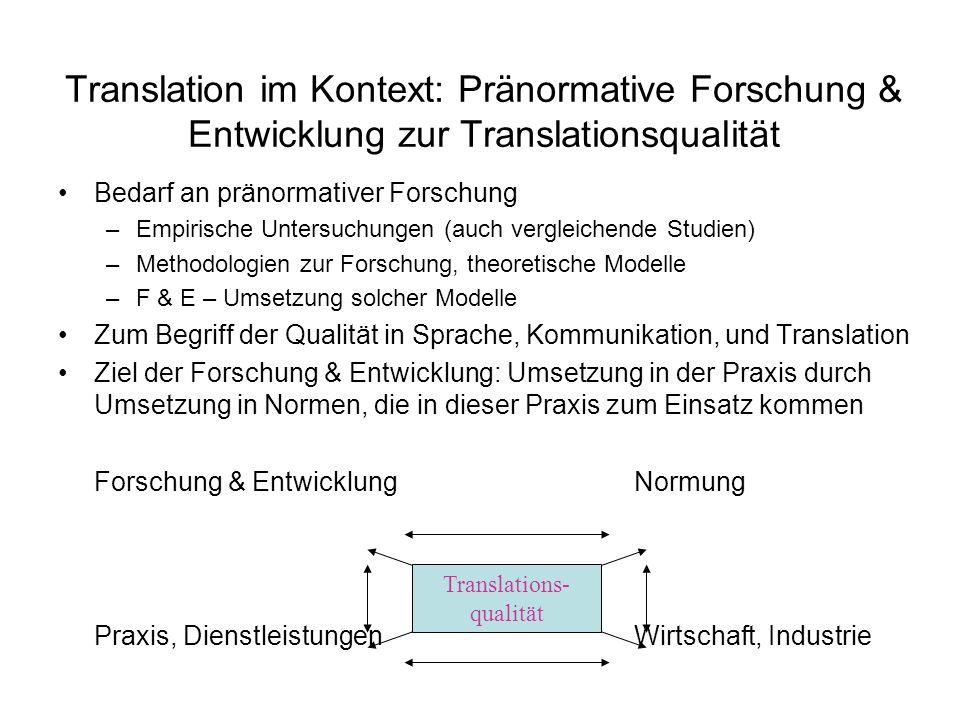 Translation im Kontext: Pränormative Forschung & Entwicklung zur Translationsqualität