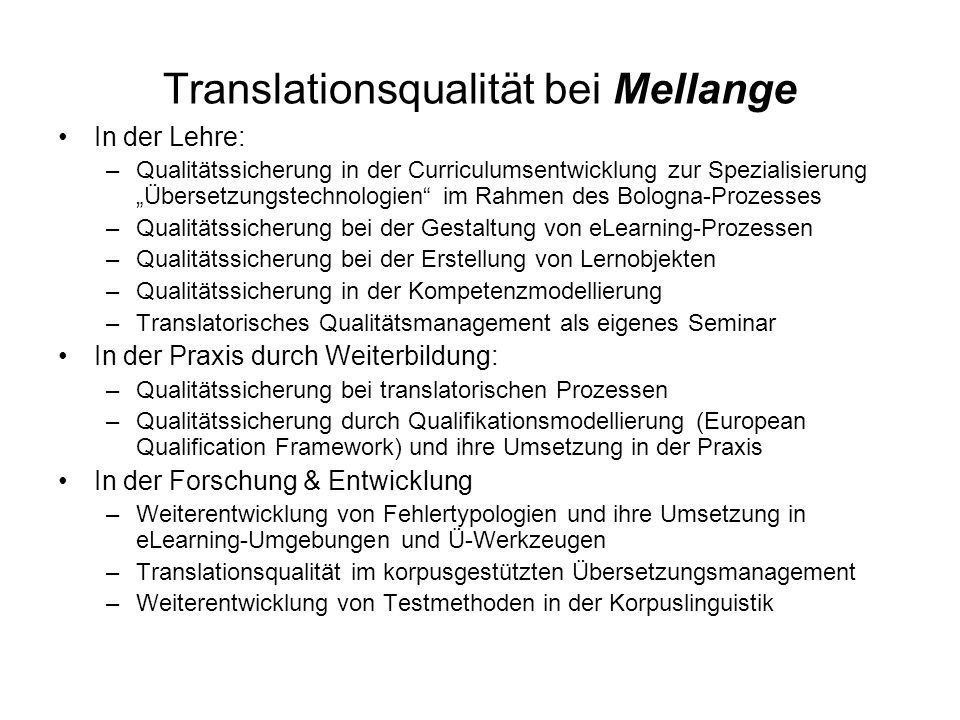 Translationsqualität bei Mellange
