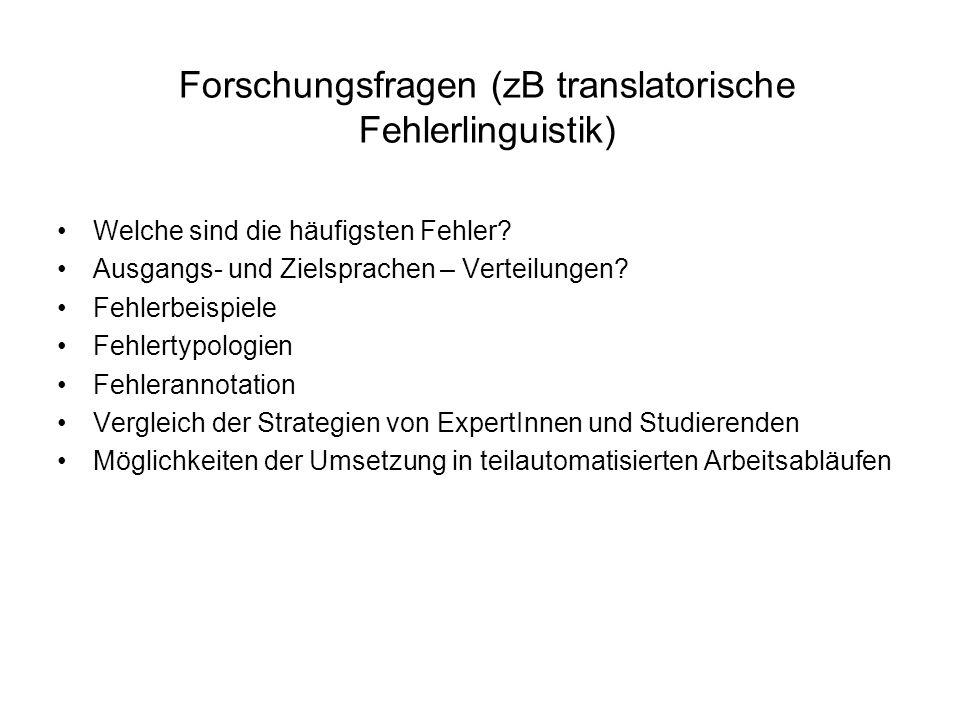 Forschungsfragen (zB translatorische Fehlerlinguistik)