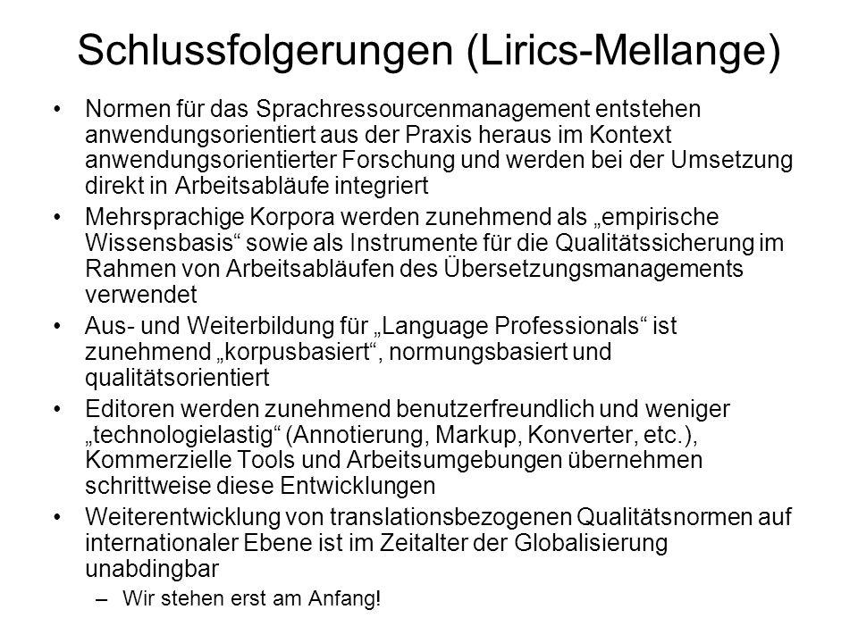 Schlussfolgerungen (Lirics-Mellange)