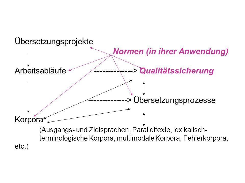 Übersetzungsprojekte. Normen (in ihrer Anwendung)