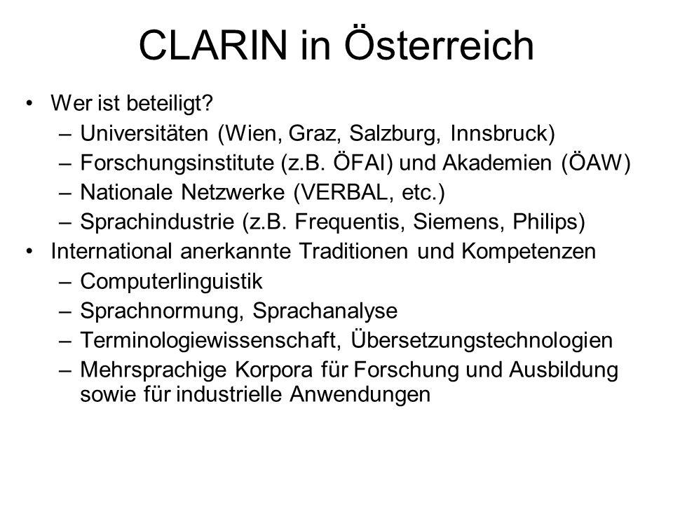 CLARIN in Österreich Wer ist beteiligt