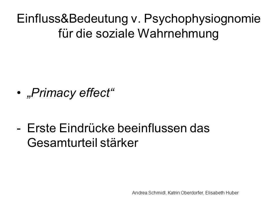 Einfluss&Bedeutung v. Psychophysiognomie für die soziale Wahrnehmung