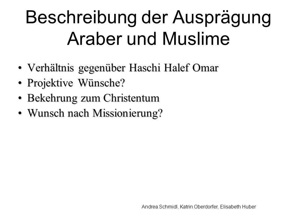 Beschreibung der Ausprägung Araber und Muslime