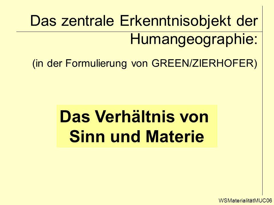 Das zentrale Erkenntnisobjekt der Humangeographie: