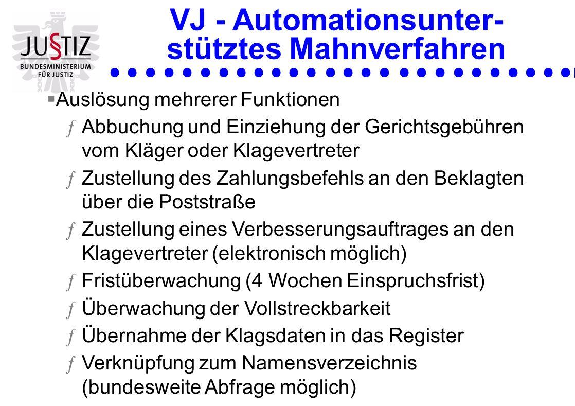 VJ - Automationsunter- stütztes Mahnverfahren
