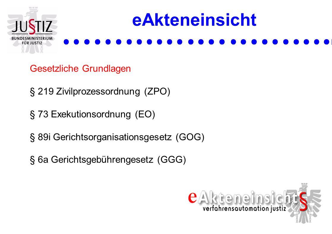eAkteneinsicht Gesetzliche Grundlagen § 219 Zivilprozessordnung (ZPO)
