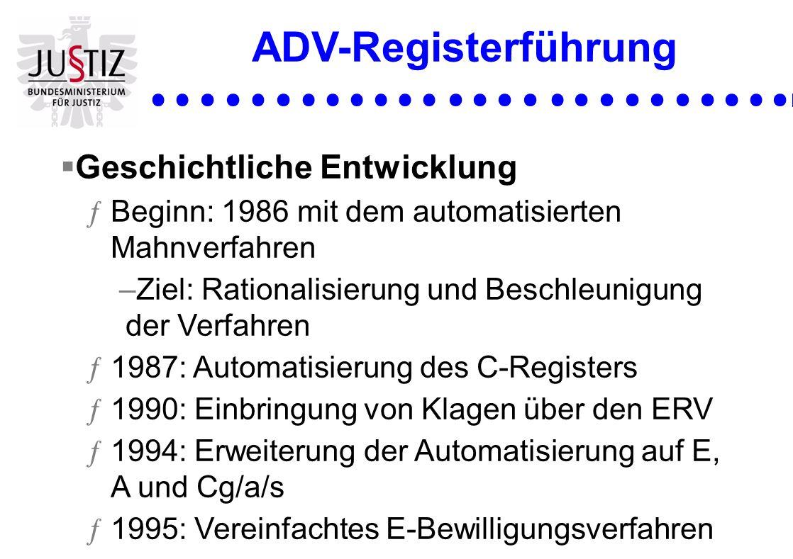 ADV-Registerführung Geschichtliche Entwicklung