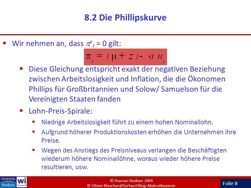 8.2 Die Phillipskurve Wir nehmen an, dass et = 0 gilt: