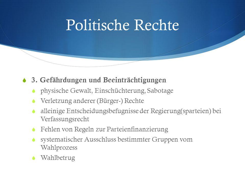 Politische Rechte 3. Gefährdungen und Beeinträchtigungen