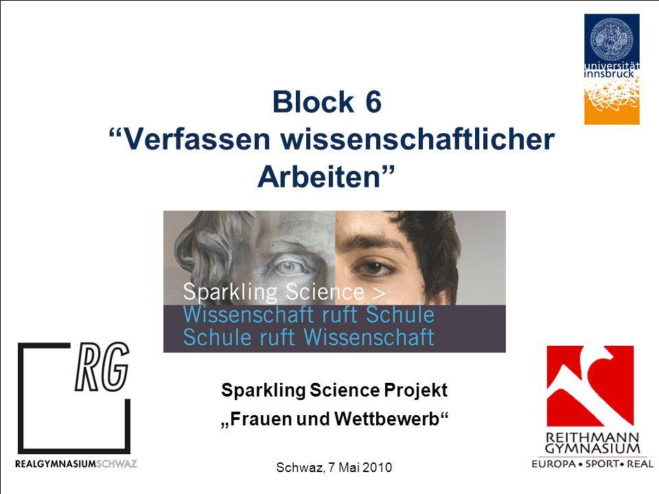 Block 6 Verfassen wissenschaftlicher Arbeiten