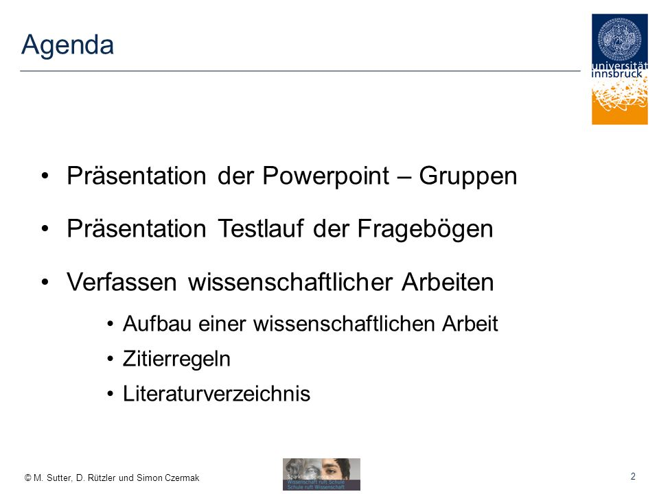 Agenda Präsentation der Powerpoint – Gruppen