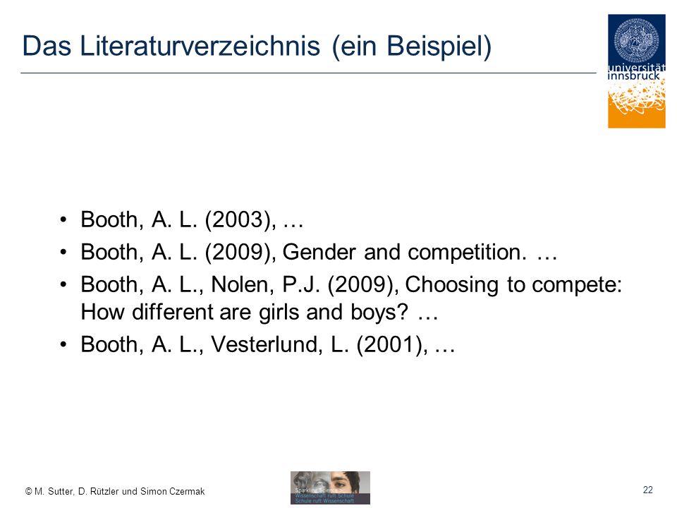 Das Literaturverzeichnis (ein Beispiel)