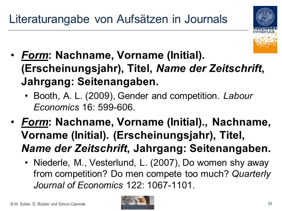 Literaturangabe von Aufsätzen in Journals