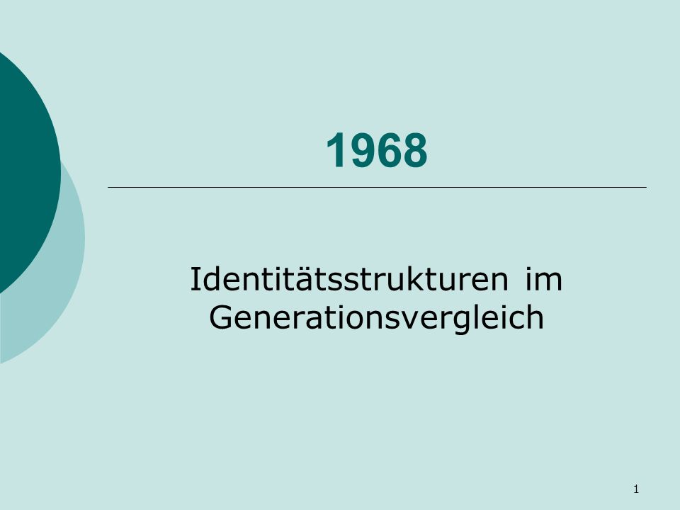 Identitätsstrukturen im Generationsvergleich